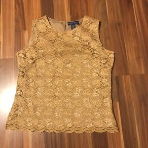 Karen Scott Petite Sleeveless Lace Blouse size SM